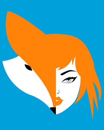 dangerous woman: Woman fox. The head of the fox and the girl on a blue background. Vector illustration Illustration