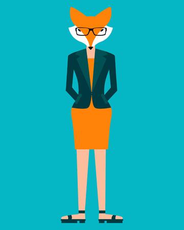 女性実業家: 青色の背景にビジネス女性フォックス。ベクトル図