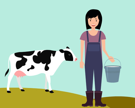 Concept agriculture. Woman farmer holding a bucket of milk on the background cow. Vector illustration