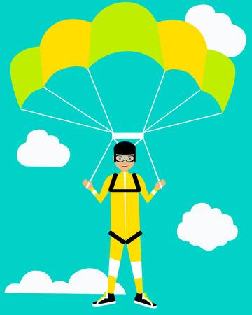 rest: Parachutist on background sky. Concept of active rest. Vector illustration Illustration