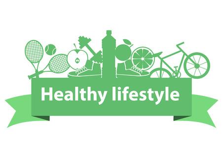 Gezonde levensstijl concept. Sport apparatuur en voedsel op het lint. Vector illustratie