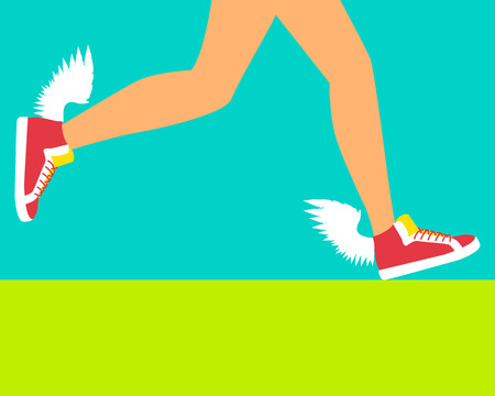 running shoe: Running shoe with wings. Speeding running. Vector illustration