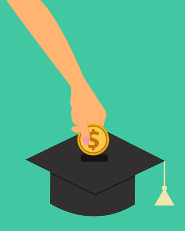 coin box: Investment in education. Woman putting money in a coin box as a graduate cap. Vector illustration