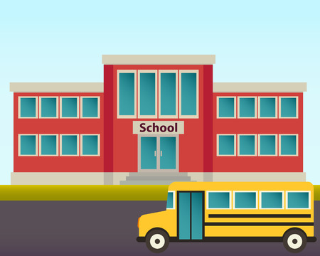 escuela edificio: Autob�s amarillo en el fondo del edificio de la escuela. Ilustraci�n vectorial