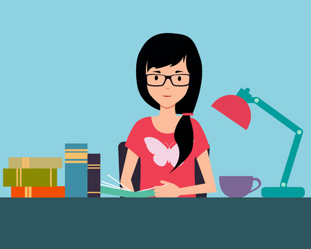 reads: Girl student reads a book at home. Vector illustration