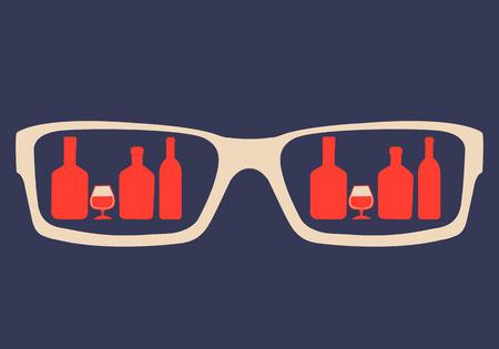 bebidas alcohÓlicas: Adicción al alcohol Concept. En los vasos reflejado bebidas alcohólicas. Ilustración vectorial Vectores