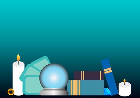 soothsayer: Lugar de trabajo adivino. Objetos esot�ricos utilizados para la adivinaci�n. Ilustraci�n vectorial