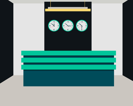 reception hotel: Hotel reception. Interior room with a desk and a clock. Vector illustration