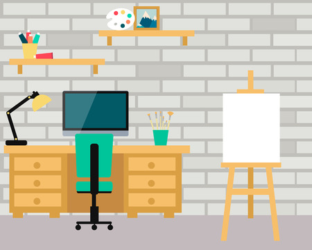 board room: Workplace artist. Interior room with computer and art board. Vector illustration Illustration