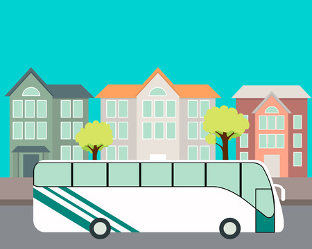 rides: Tour Bus rides on the road on the background houses. Vector illustration