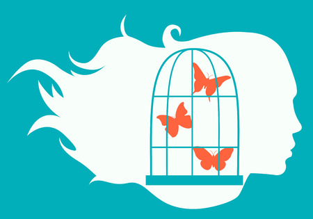 Secret Desires. Silhouette of the girl and the cage with butterflies. Vector illustration