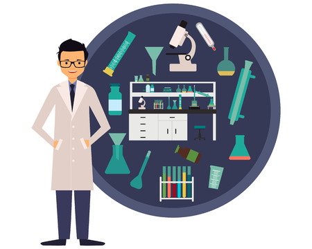 chemist: Workplace scientist chemist. The concept of science. Vector illustration