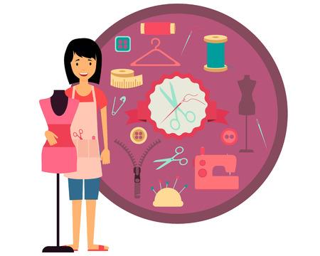 seamstress: Woman seamstress. Set of sewing tools and accessories. Vector illustration