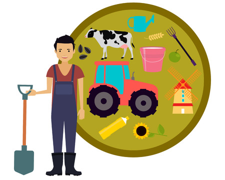 milk pail: Concept agriculture. Male farmer holding a shovel on the background tractor. Vector illustration