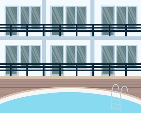 hotel pool: Modern hotel with swimming pool. Vector illustration