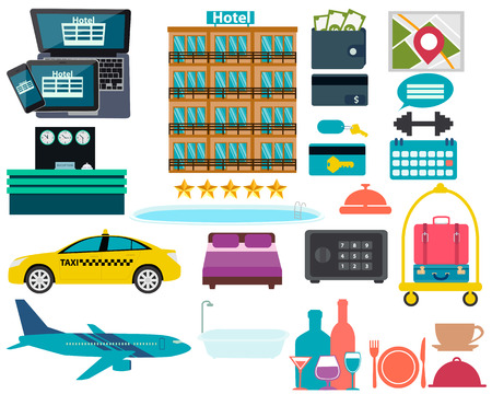 hotel pool: Set hotel. Reception, swimming pool and a suitcase. Vector illustration