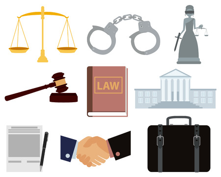 handcuffs woman: Icon set law. Courthouse and handcuffs. Vector illustration Illustration