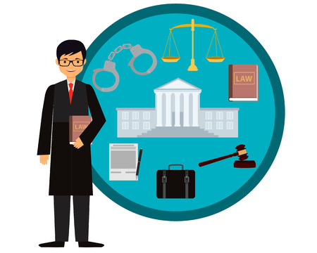 court judge: Man judge. Icon set law. Vector illustration
