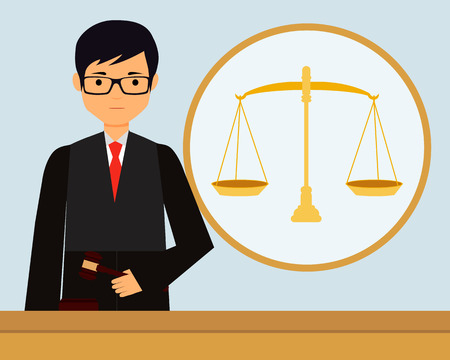 violation: Man judge in the workplace holding gavel. Vector illustration