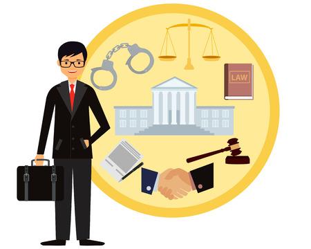 Man lawyer. Icon set law. Vector illustration