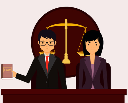 Man lawyer in court protects the client. Vector illustration