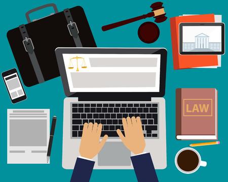 DERECHO: Abogado del lugar de trabajo. Tabla con el portátil, la tableta y el teléfono móvil. Ilustración vectorial Vectores
