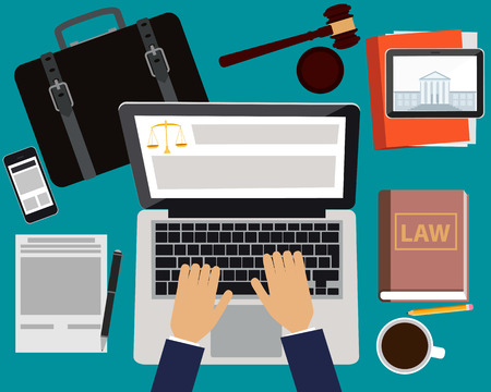 law books: Workplace lawyer. Table with laptop, tablet and mobile phone. Vector illustration