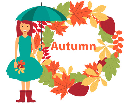 autumn woman: Card autumn. Young woman in a dress holding an umbrella. Vector illustration Illustration