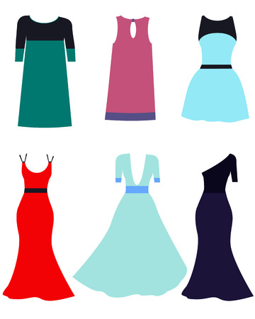 short dress: Set dress. Long and short dress on a white background. Vector illustration