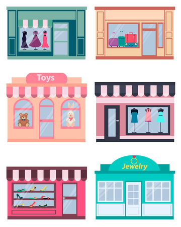 clothing shop: Set shop. Clothing, shoes and jewelry. Vector illustration