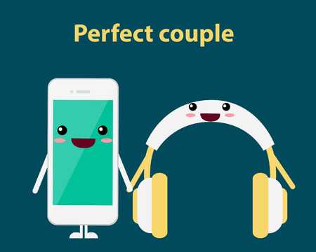 perfect: Perfect couple. Mobile phone and headphones. Vector illustration