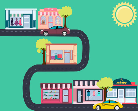 road design: Fashionable city. Street with shops and cars. Vector illustration