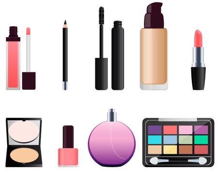メイク用化粧品のセット。口紅とアイシャドウ。ベクトル図