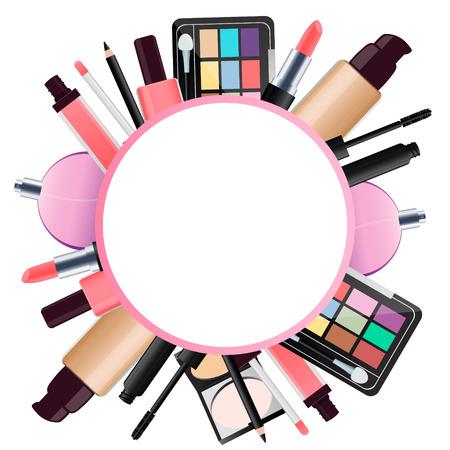 Round background cosmetics for makeup. Lipstick and eye shadow. Vector illustration Vektoros illusztráció