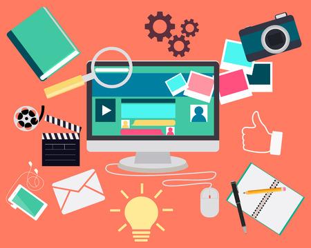 Blog concept. Computer and Web site content elements. Vector illustration Illustration