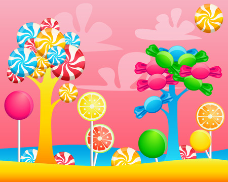 World of sweets candies. Game Design illustration Vettoriali
