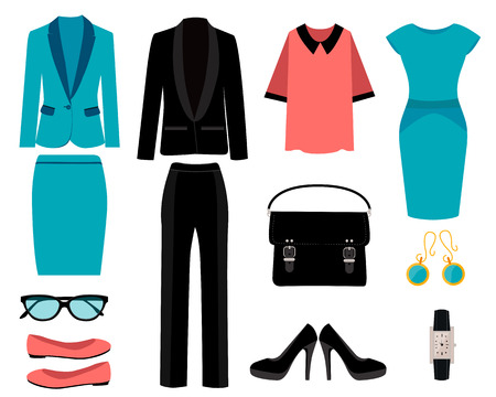 Set of business clothes for women. Vector illustration Stock Illustratie