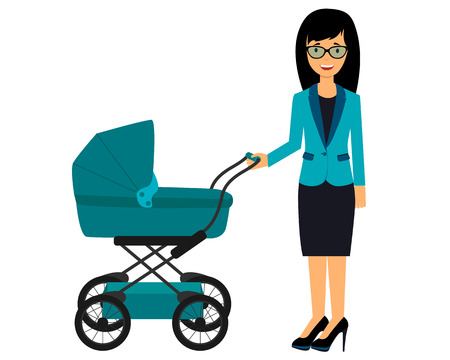 business suit: Business woman with a pram. Young mother walking with baby. Vector illustration