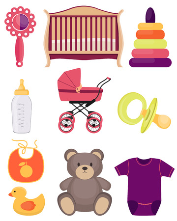 rompers: A set of baby accessories and toys isolated on white background. Vector illustration