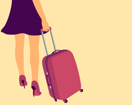 determined: Girl with a suitcase for travel. Concept of freedom. Vector illustration