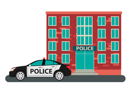 Building police and the car on a white background. Vector illustration Illustration