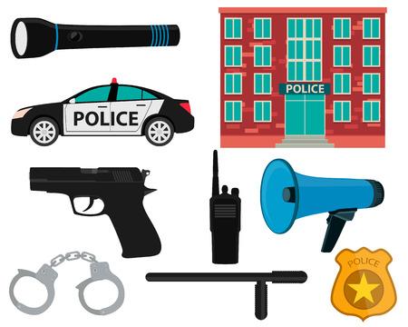 Icon set politie. Apparatuur en toebehoren .Vector illustratie Stock Illustratie