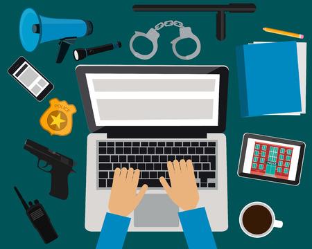 Workplace politie. Tabel met laptop, tablet en mobiele telefoon. Vector illustratie