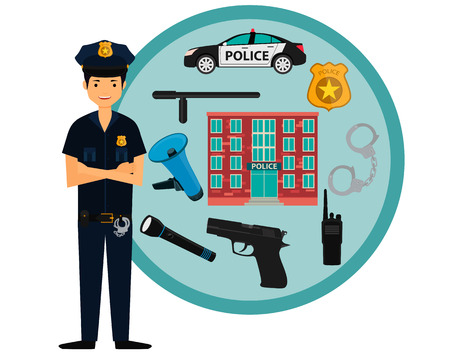 police equipment: Male policeman and police icons. Vector illustration