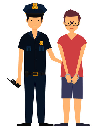 police radio: Policeman arrested the offender. Young angry man in handcuffs. Vector illustration