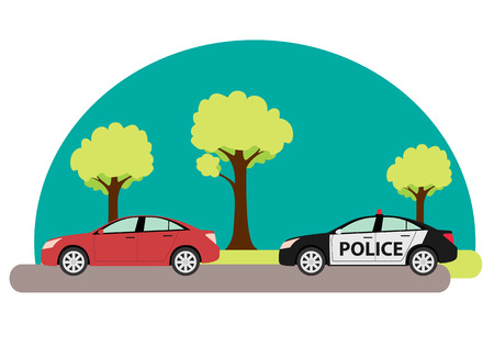 criminals: Police car pursuing criminals exceeded speed. Vector illustration