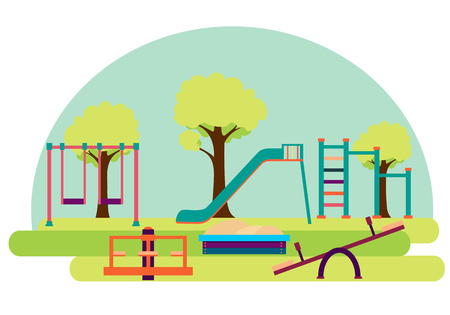 Playground. Slide and swing on a background of green trees. Vector illustration Ilustração