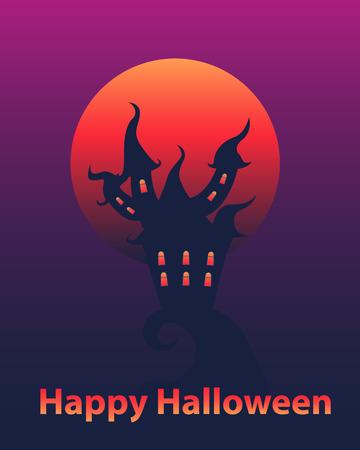 gloomy: Halloween card. Gloomy house and a bloody moon. Vector illustration
