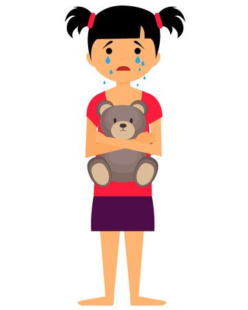 Droevig meisje huilen en knuffelen speelgoedbeer. vector illustratie Stock Illustratie