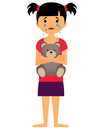 Sad little girl crying and hugging toy bear. Vector illustration